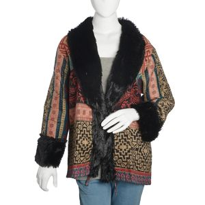Multi Color 100% Acrylic Cozy Cardigan with Black Faux Fur Trimming (M/L)