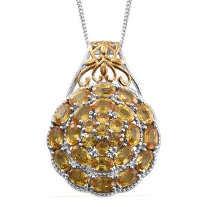Yellow Sapphire 14K YG and Platinum Over Sterling Silver Pendant With Chain (20 in) TGW 7.04 cts.