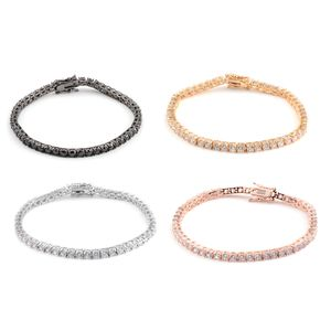 Set of 4 Black and White Cubic Zirconia Multi-tone Tennis Bracelets (6.75 In) Dia.Eqv.Weight 36.00 Carat
