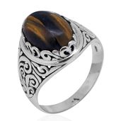 Bali Legacy Collection South African Tigers Eye Sterling Silver Ring (Size 6.0) TGW 5.92 cts.