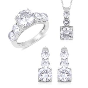 Simulated White Diamond Stainless Steel Earrings, Ring (Size 10) and Pendant With Chain (20 in) TGW 8.00 cts.