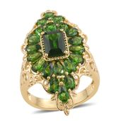 Russian Diopside 14K YG Over Sterling Silver Ring (Size 6.0) TGW 6.59 cts.