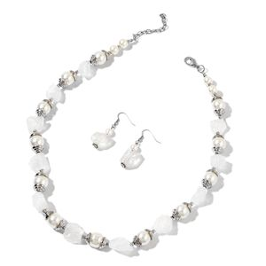White Quartz, Simulated Pearl Stainless Steel Earrings and Necklace (22 in) TGW 307.50 cts.