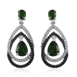 Russian Diopside, Thai Black Spinel, Cambodian Zircon Platinum Over Sterling Silver Dangle Earrings TGW 4.42 cts.