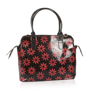 Vivid by Sukriti Handcrafted Black and Red Daisy Flower Embossed Genuine Leather RFID Tote (14x5.5x11 in) with Removable Strap (58 in)