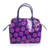 Vivid by Sukriti Handcrafted Violet and Pink Daisy Flower Embossed Genuine Leather RFID Tote (14x5.5x11 in) with Removable Strap (58 in)