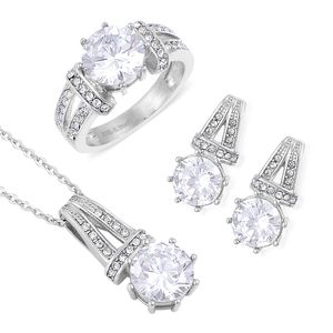 Simulated White Diamond, White Austrian Crystal Stainless Steel Earrings, Ring (Size 9) and Pendant With Chain (20 in) TGW 4.50 cts.