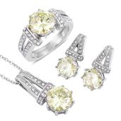 Simulated Yellow Diamond, White Austrian Crystal Stainless Steel Earrings, Ring (Size 11) Pendant With Chain (20 in) TGW 4.50 cts.