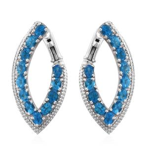 Malgache Neon Apatite Platinum Over Sterling Silver Latch Back Earrings TGW 4.80 cts.
