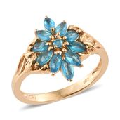 Malgache Neon Apatite 14K YG Over Sterling Silver Flower Ring (Size 10.0) TGW 1.21 cts.