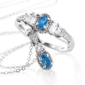 Malgache Neon Apatite, White Topaz Platinum Over Sterling Silver Ring (Size 7) and Pendant With Chain (20 in) TGW 1.25 cts.