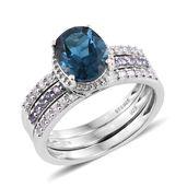 Deepak's Dazzling Deals London Blue Topaz, Tanzanite, Cambodian Zircon Platinum Over Sterling Silver Ring (Size 10.0) TGW 3.88 cts.