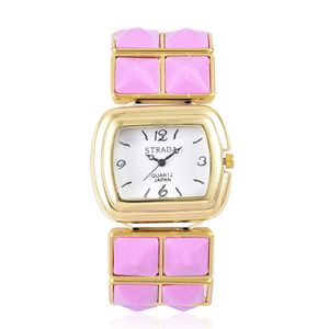 STRADA Japanese Movement Water Resistant Watch with Dark Pink Ceramic and Goldtone Strap (Stretchable) and Stainless Steel Back TGW 100.00 cts.