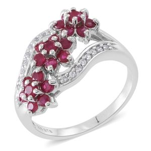 Burmese Ruby, White Topaz Sterling Silver Floral Ring (Size 8.0) TGW 1.94 cts.