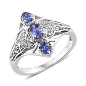 Premium AAA Tanzanite, Cambodian Zircon Platinum Over Sterling Silver Ring (Size 7.0) TGW 1.30 cts.