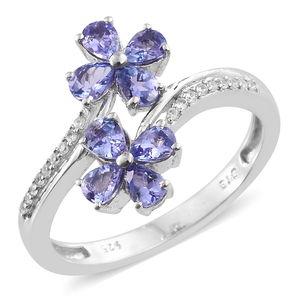 Premium AAA Tanzanite, Cambodian Zircon Platinum Over Sterling Silver Rocket Flower Ring (Size 6.0) TGW 1.59 cts.