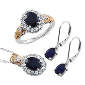 Masoala Sapphire, Cambodian Zircon 14K YG and Platinum Over Sterling Silver Lever Back Earrings, Ring (Size 6) and Pendant With Chain (20 in) TGW 8.74 cts.