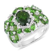 Russian Diopside, White Zircon Sterling Silver Ring (Size 9.0) TGW 4.40 cts.