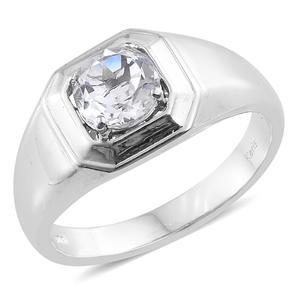 KARIS Collection - White Topaz Platinum Bond Brass Men's Ring (Size 14.0) TGW 2.35 cts.
