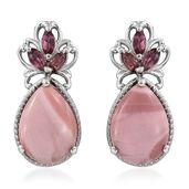 Australian Pink Opal, Orissa Rhodolite Garnet Platinum Over Sterling Silver Earrings TGW 8.06 cts.