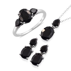 Thai Black Spinel Platinum Over Sterling Silver Earrings, Ring (Size 11) and Pendant With Chain (20 in) TGW 11.29 cts.