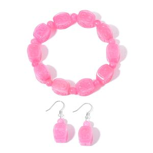 Burmese Pink Jade Sterling Silver Carved Scroll Bracelet (Stretchable) and Dangle Earrings TGW 302.50 cts.