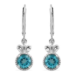 Paraiba Topaz Platinum Over Sterling Silver Lever Back Earrings TGW 1.84 cts.
