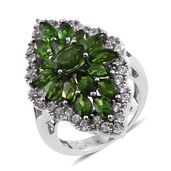Russian Diopside, Cambodian Zircon Platinum Over Sterling Silver Ring (Size 5.0) TGW 7.71 cts.
