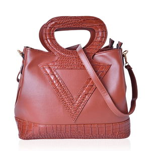 Brown Crocodile Pattern Faux Leather Tote Bag with Standing Studs, Removable Strap and Half Moon Handle (14.5x7.5x11.5 in)