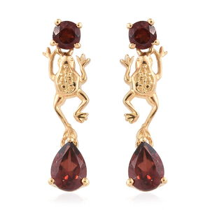 KARIS Collection - Mozambique Garnet ION Plated 18K YG Brass Frog Earrings TGW 2.60 cts.