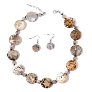 Enhanced Leopard Agate Silvertone & Stainless Steel Earrings and Necklace (20-22 in) TGW 481.00 cts.