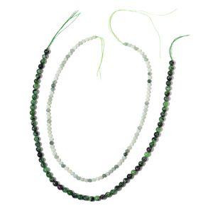Gem Workshop Ruby Zoisite, Natural Jadeite Set of 2 Bead Strands Total Gem Stone Weight 129.00 Carat