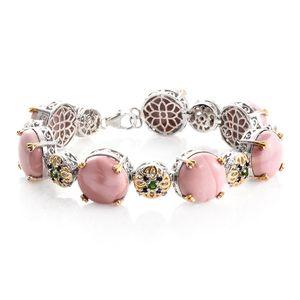 Australian Pink Opal, Multi Gemstone 14K YG and Platinum Over Sterling Silver Bracelet (7.50 In) TGW 42.87 cts.