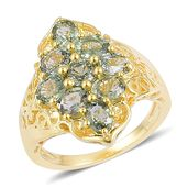 Green Sapphire 14K YG Over Sterling Silver Ring (Size 9.0) TGW 4.40 cts.
