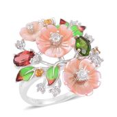 Pink Mother of Pearl Carved, Multi Gemstone Sterling Silver Ring (Size 10.0) TGW 1.99 cts.