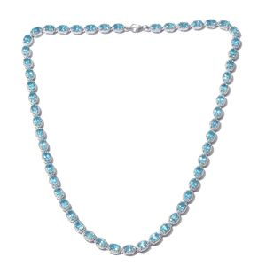 Madagascar Paraiba Apatite Tennis Necklace in Platinum Over Sterling Silver 26.04 ct tw