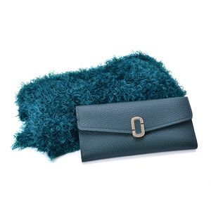 Lifestyle Special Edition: Teal 100% Acrylic Magic Scarf (One Size) and Matching Faux Leather Envelope Wallet (7.5x4 in)