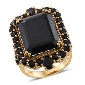 Thai Black Spinel 14K YG Over Sterling Silver Ring (Size 11.0) TGW 36.28 cts.