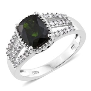 Dan's Collector Deal Russian Diopside, Cambodian Zircon Platinum Over Sterling Silver Ring (Size 8.0) TGW 2.50 cts.