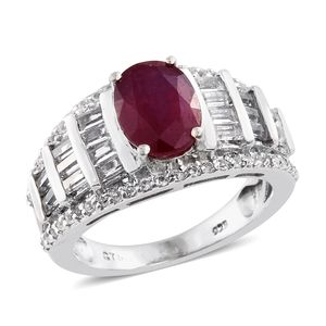 Niassa Ruby, White Topaz Platinum Over Sterling Silver Ring (Size 7.0) TGW 4.15 cts.
