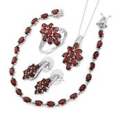 Mozambique Garnet Platinum Over Sterling Silver Split Floral Bracelet (7.50 in), Earrings, Ring (Size 5) and Pendant With Chain (18.00 In) TGW 26.10 cts.
