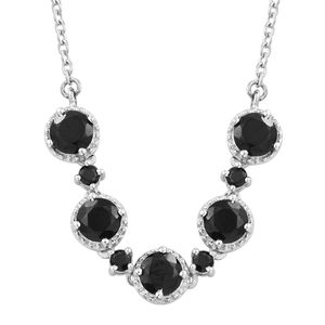 KARIS Collection - Thai Black Spinel Platinum Bond Brass Necklace With Stainless Steel Chain (18 in) TGW 4.10 cts.