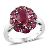 Niassa Ruby, Cambodian Zircon Platinum Over Sterling Silver Ring (Size 8.0) TGW 4.81 cts.
