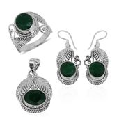 Bali Legacy Collection Emerald (Color Enhanced) Sterling Silver Leaf Engraved Earrings, Ring (Size 6) and Pendant without Chain TGW 24.71 cts.