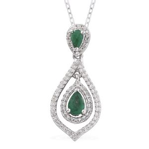 Kagem Zambian Emerald, Cambodian Zircon Platinum Over Sterling Silver Dangle Drop Pendant With Chain (20 in) TGW 1.13 cts.