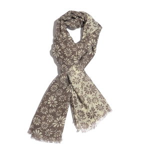 Grey Floral Pattern 100% Merino Wool Scarf (28x72 in)