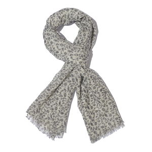 Gray Floral Pattern 100% Merino Wool Scarf (72x28 in)