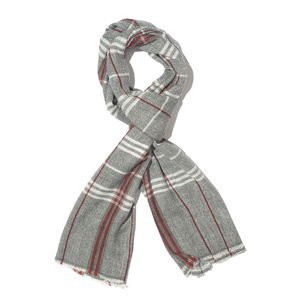 Gray Checks Pattern 60% Wool & 40% Acrylic Blend Scarf (28x80 in)