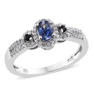 Ceylon Blue Sapphire, Cambodian Zircon 14K YG and Platinum Over Sterling Silver Ring (Size 9.0) TGW 1.09 cts.