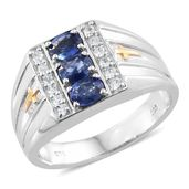 Ceylon Blue Sapphire, Cambodian Zircon 14K YG and Platinum Over Sterling Silver Men's Ring (Size 12.0) TGW 1.62 cts.